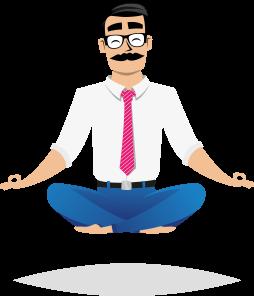 Professor Prestito, mascotte di Soluzione Prestito, in meditazione yoga