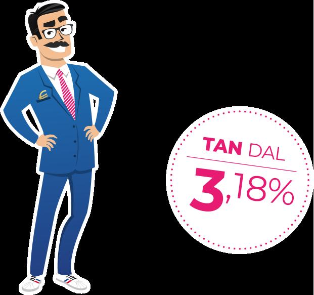 Professor Prestito, mascotte di Soluzione Prestito, con affianco il bollino TAN dal 3,18%