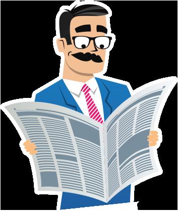 Professor prestito che legge la sezione notizie